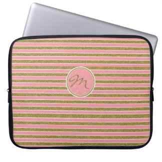 Trendy Pink Gold Glitter Monogrammed Laptop Sleeve