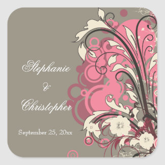Trendy pink gray grunge swirls wedding stickers