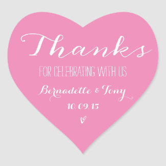 Trendy Pink Heart Bridal Shower Thank You Favor Heart Sticker