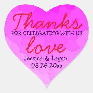 Trendy Pink Heart Bridal Shower Thank You Sticker
