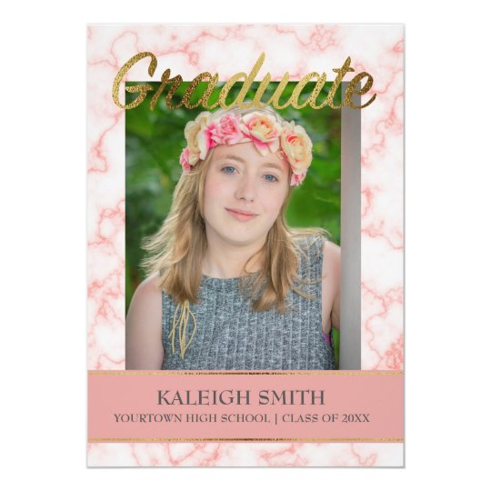 Trendy Pink Marble and Gold Photo Graduation Card