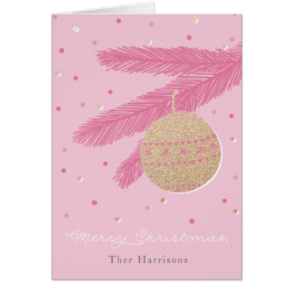 Trendy Pink merry Christmas Card Gold Ornament