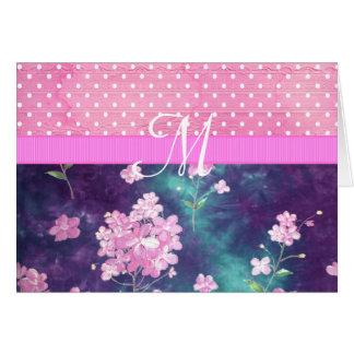 Trendy Pink Monogram Batik Floral Polka Dots Card