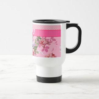 Trendy Pink Monogram Vintage Floral Polka Dots Mug