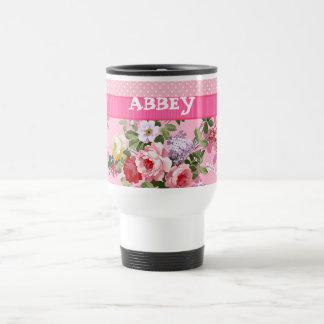 Trendy Pink Monogram Vintage Floral Polka Dots Travel Mug