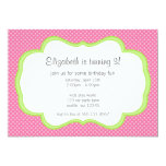 Trendy Pink Polka Dots Green Frame Birthday Party Personalized Invitation