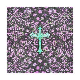 Trendy Pink Teal Floral Damask Glitter Cross Print Canvas Print