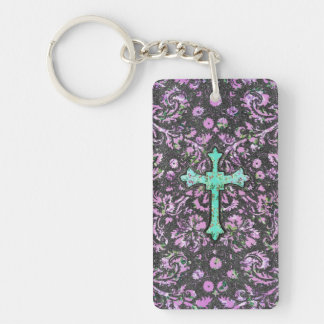 Trendy Pink Teal Floral Damask Glitter Cross Print Single-Sided Rectangular Acrylic Key Ring