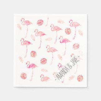 Trendy pink watercolor flamingo tropical leaf disposable serviette