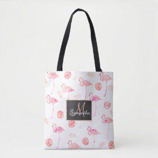 Trendy pink watercolor flamingo tropical leaf tote bag