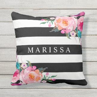 Trendy Pink Watercolor Floral Black White Stripe Cushion