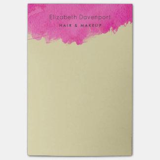 Trendy Pink Watercolor Paint Splatter Post-it Notes