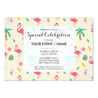 Trendy pink watercolor tropical flamingo floral 13 cm x 18 cm invitation card