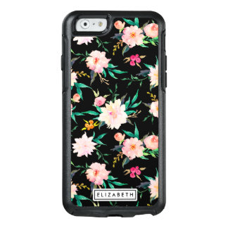 Trendy Pink White Black Floral Watercolor Pattern OtterBox iPhone 6/6s Case
