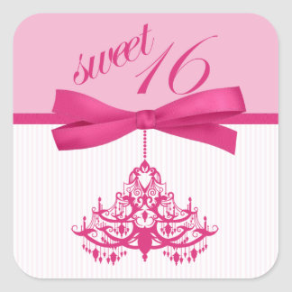 Trendy Pink & White Sweet 16 Chandelier Stickers