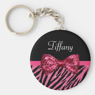 Trendy Pink Zebra Print FAUX Glitz Bow With Name Key Ring