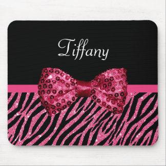 Trendy Pink Zebra Print FAUX Glitz Bow With Name Mouse Pad