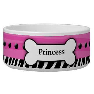 Trendy Pink Zebra Stripe Custom Pet Dog Food Bowl