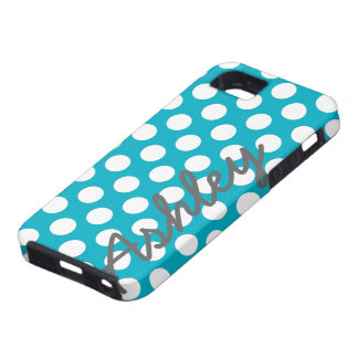 Trendy Polka Dot Pattern with name - blue gray iPhone 5 Cover