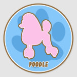 Trendy Poodle Round Stickers