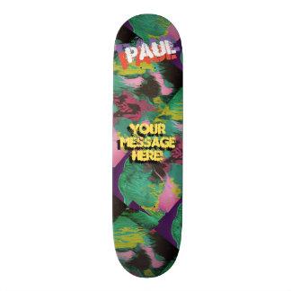 Trendy Poured Paint Green Purple Black Skateboard