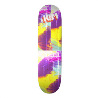 Trendy Poured Paint Hot Pink Lime Green Skateboard Deck