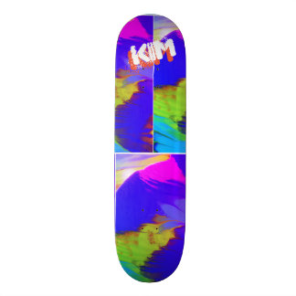 Trendy Poured Paint Hot Pink Turquoise Skateboard