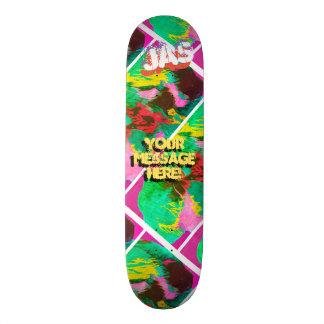 Trendy Poured Paint Magenta Pink Orange Skateboard Deck