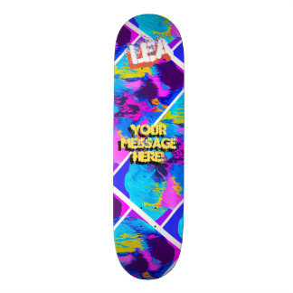Trendy Poured Paint Magenta Turquoise Blue Skateboard Deck