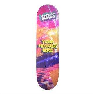 Trendy Poured Paint Maroon Gold Purple Black Skateboard