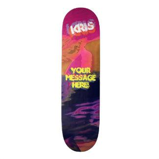 Trendy Poured Paint Maroon Gold Purple Black Skateboard Deck