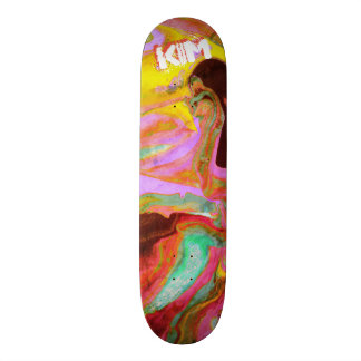 Trendy Poured Paint Pink Turquoise Yellow Skateboard Deck