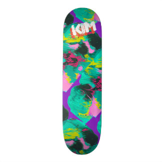 Trendy Poured Paint Purple Pink Turquoise Skateboard
