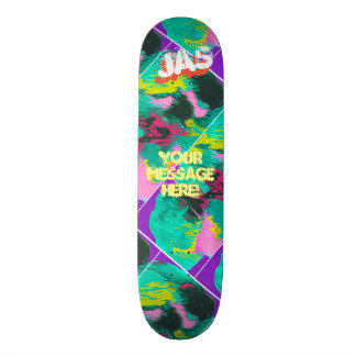 Trendy Poured Paint Purple Pink Turquoise Skateboard Deck