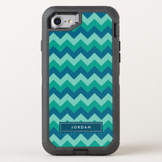 Trendy Preppy Teal Blue Chevron Monogram OtterBox Defender iPhone 8/7 Case