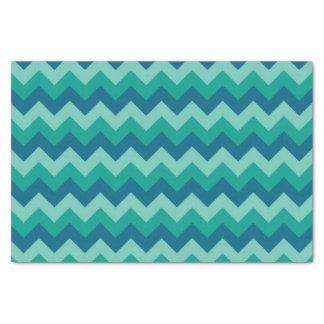 Trendy Preppy Teal Blue Chevron Pattern Tissue Paper