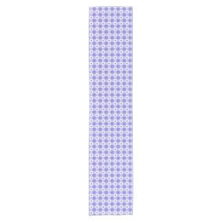Trendy Purple And White Gingham Check Pattern Short Table Runner