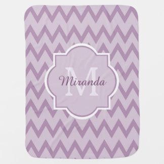 Trendy Purple Chevron Baby Name and Monogram Baby Blanket