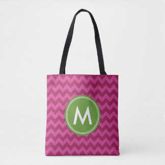 Trendy Purple Chevron Monogram Tote Bag