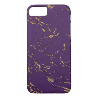 Trendy Purple & Gold Marble Texture iPhone 8/7 Case