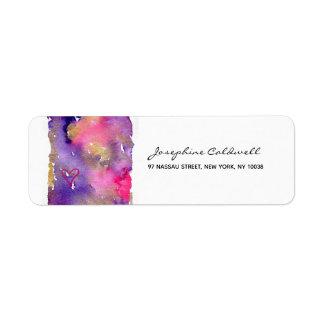 Trendy Purple & Gold Watercolor Return Address Label