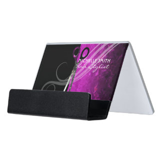 Trendy purple hair salon business card holder