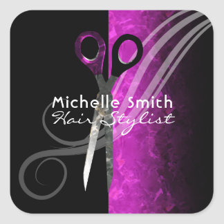 Trendy purple hair salon sticker