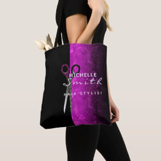 Trendy purple hair salon tote bag