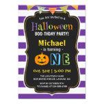 Trendy Purple Halloween Baby First Birthday Party 13 Cm X 18 Cm Invitation Card