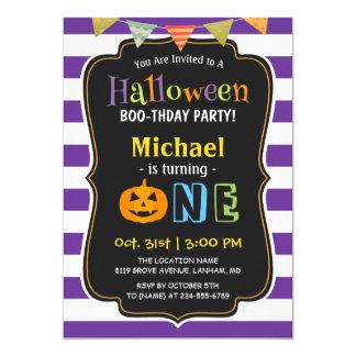 Trendy Purple Halloween Baby First Birthday Party 13 Cm X 18 Cm Invitation Card