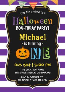 Trendy Purple Halloween Baby First Birthday Party Invitation