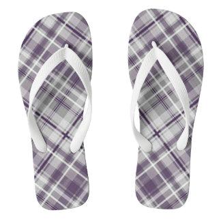 trendy purple lilac gray plaid pattern thongs