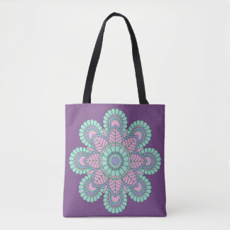 Trendy Purple Mandala Customizable Tote Bag