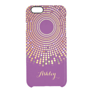 Trendy Purple Sparkle Dots - Custom Monogram Name Clear iPhone 6/6S Case